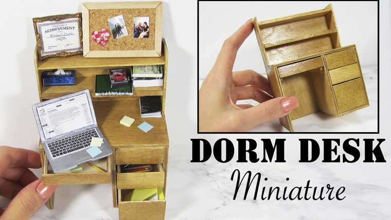 How To Make Miniature Dorm Desk